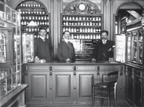 The Hirsch Pharmacy in Frankfurt at the time of the company's founding.